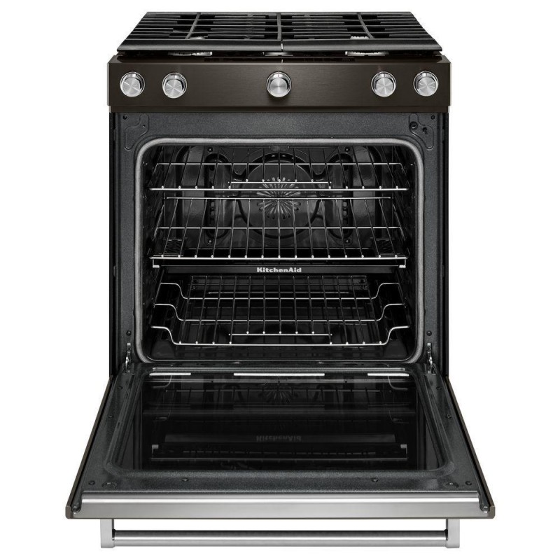 KitchenAid KSGG700EBS 30 In. 5.8 Cu. Ft. Slide In Gas Range In Black  Stainless