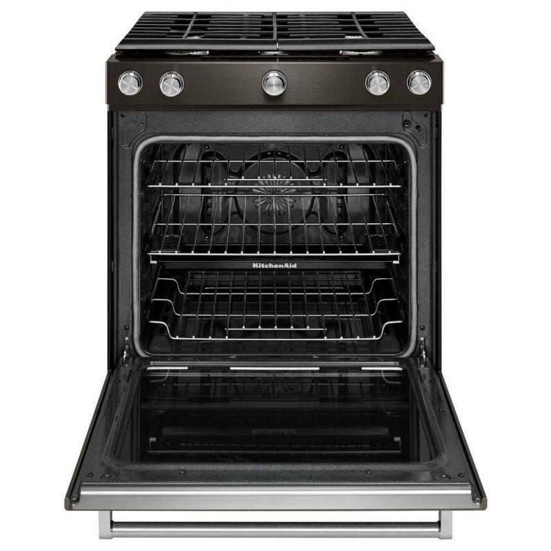 kitchenaid ksgg700ebs 30 in 5 8 cu ft slide in gas range in black stainless. Black Bedroom Furniture Sets. Home Design Ideas