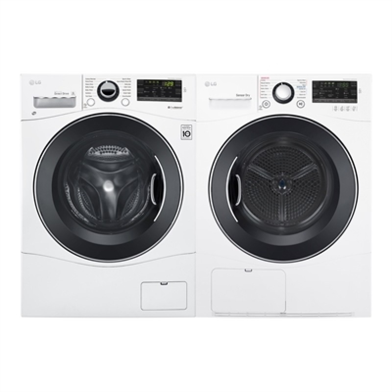 Lg 24 In Front Load Washer Wm1388hw And Dryer Dlec888w Set