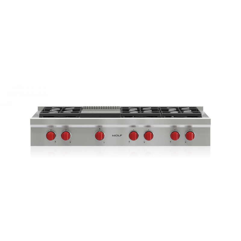 Wolf Srt486g 48 In Sealed Burner Gas Rangetop With Infrared Griddle Stainless Steel