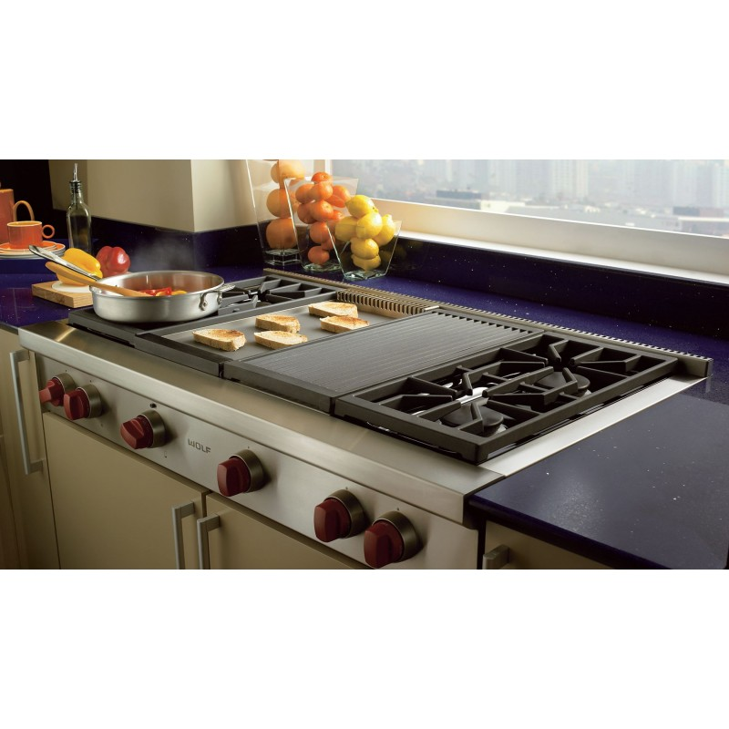 Wolf SRT486G 48 In. Sealed Burner Gas Rangetop With Infrared Griddle In  Stainless Steel