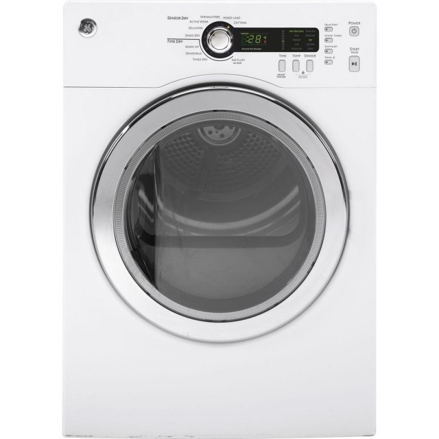 GE DCVH480EKWW 4.0 cu. ft. 240 Volt White Compact Stackable Electric Vented Dryer