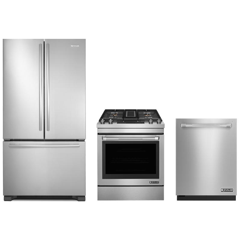 Jenn Air JFC2290VEM 21.8 Cu. Ft. French Door Refrigerator, JDS1750EP 6.4 Cu  Ft Dual Fuel Convection ...