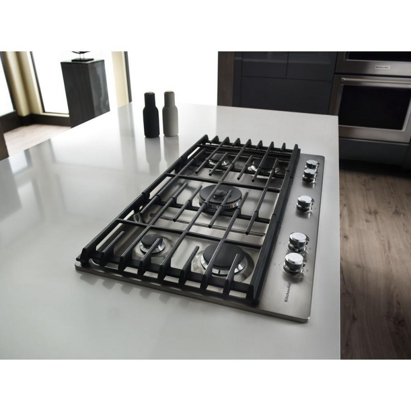 5 Burner Gas Cooktops: KitchenAid KCGS950ESS 30 In. Gas Cooktop In Stainless