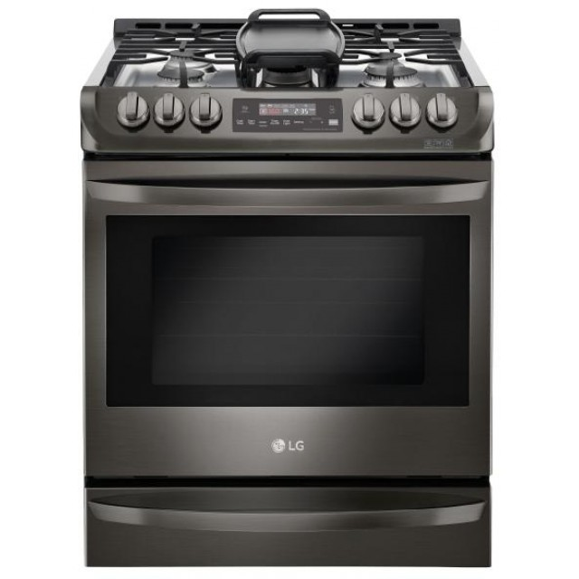 LG Black Stainless Steel Series LSG4513BD 30 in. 6.3 cu. ft. Slide-in Gas Range, Convection, Delay Bake, Self-Cleaning Mode, EasyClean Technology, Probake Convection™ in Black Stainless Steel
