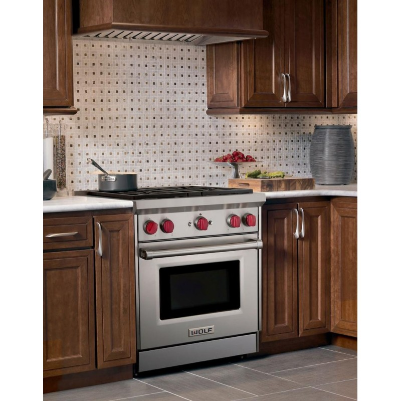 Wolf Gr304 30 In 2 9 Cu Ft Freestanding Gas Range With 4 Burners Grill Convection Oven