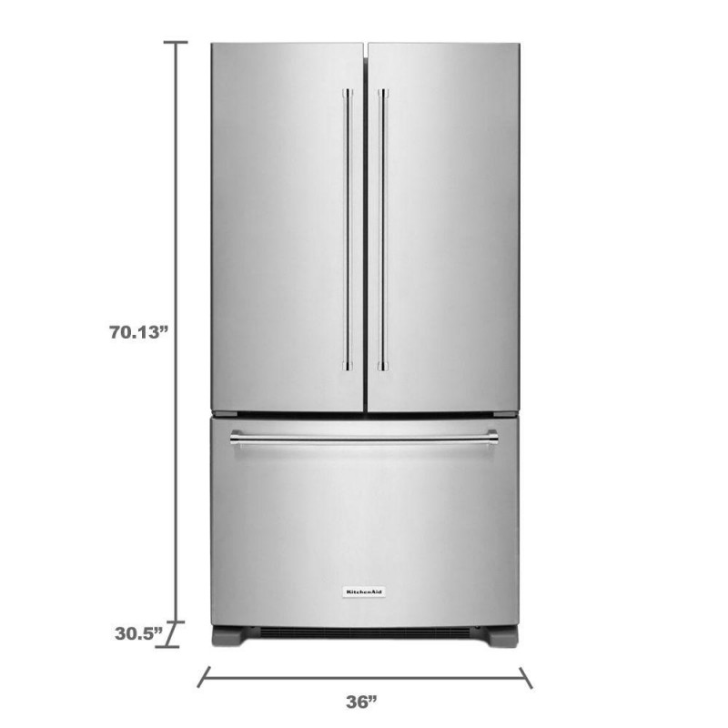Shop Kitchenaid 20 8 Cu Ft Built In French Door: KitchenAid KRFC300ESS 20 Cu. Ft. French Door Refrigerator In Stainless Steel, Counter Depth