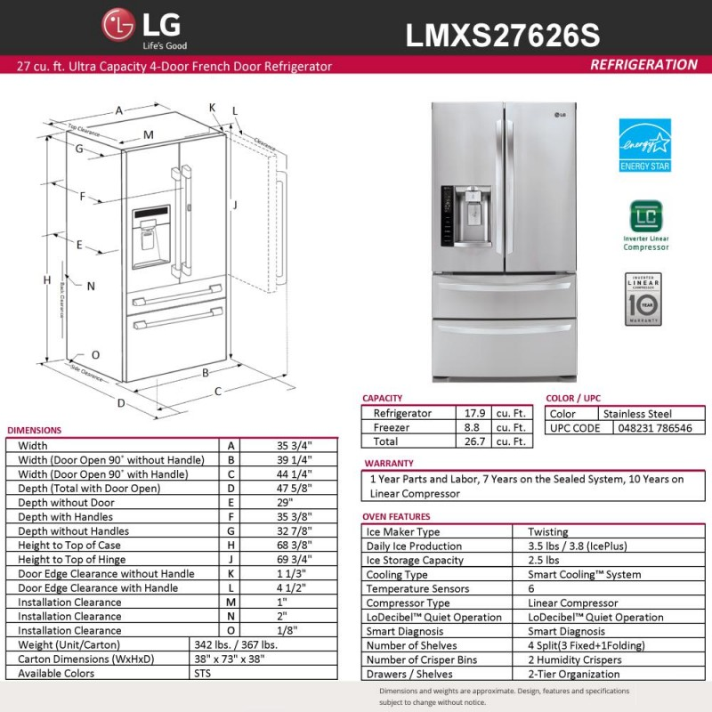 lg lmxs27626s 26 7 cu ft french door refrigerator in stainless steel rh premierappliancestore com LG Compressor Qp325kba lg linear compressor wiring diagram