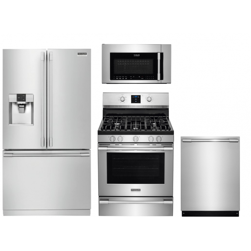 Frigidaire Professional Fpbs2777rf 27 8 Cu Ft Refrigerator Fpbm3077rf 30 In Over The Range Microwave Fpgf3077qf 5 6