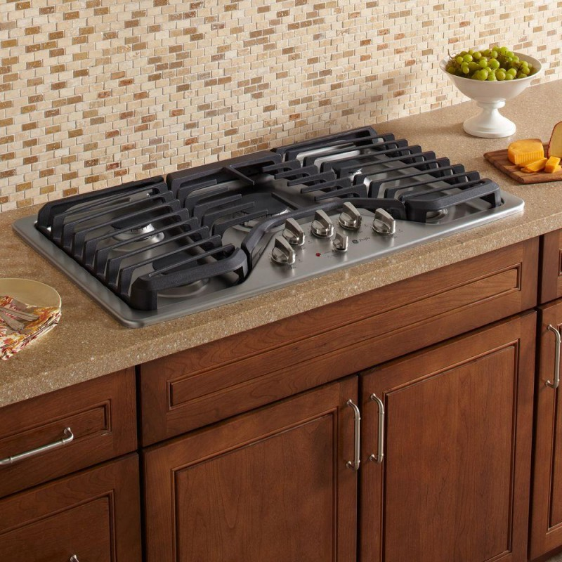5 Burner Gas Cooktops: GE Profile PGP976SETSS 36 In. Gas Cooktop In Stainless