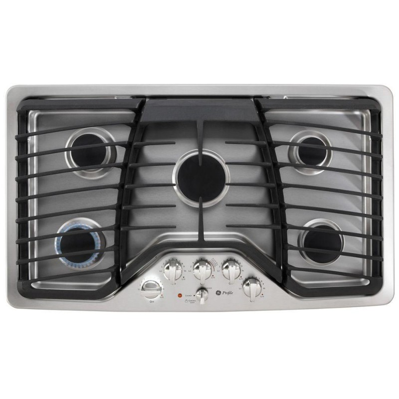 Ge Profile Pgp976setss 36 In Gas Cooktop In Stainless Steel With 5 Burners Including Power Boil