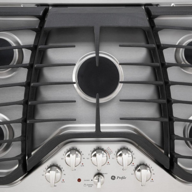 gas cooktop in stainless steel with 5 burners including power boil burner