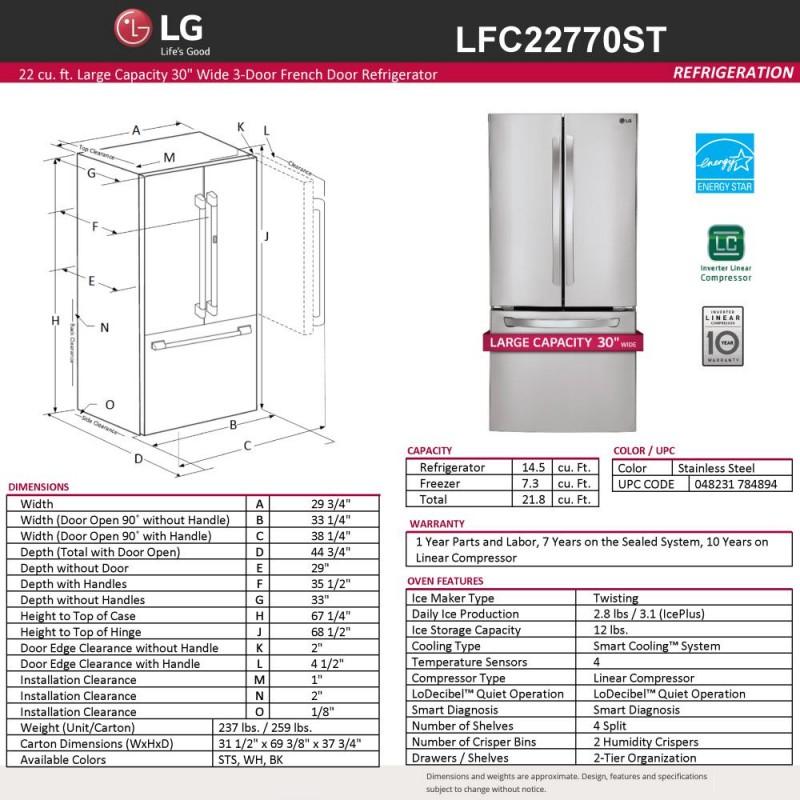 Lg Lfc22770st 30 In W 21 8 Cu Ft French Door