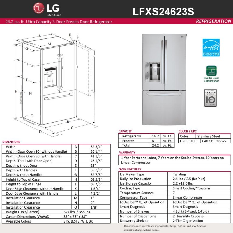 lg lfxs24623s 33 in 24 2 cu ft french door refrigerator. Black Bedroom Furniture Sets. Home Design Ideas