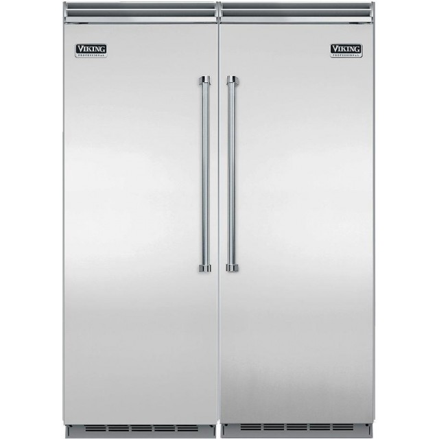 "Viking VCRB5363RSS Professional 5 Series Built-in Refrigerator,  VCFB5363LSS Built-in Upright Freezer, VDOF730SS 7 Series 30"" 9.4 cu. ft. Double Electric French Door Wall Oven in Stainless Steel"