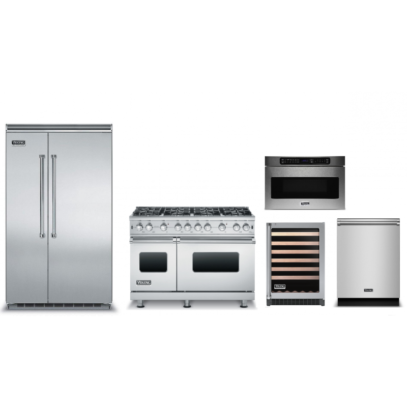 Viking VCSB5483SS 48 In. Built In Side By Side Refrigerator, VMOD5240SS 1.2  Cu Ft Built In ...