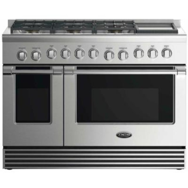 DCS RGV2486GDN 48 In Gas Range with  5.3 cu. ft. Convection Oven,  2.4 cu. ft. Secondary Oven,  6 Sealed Burners in Stainless Steel