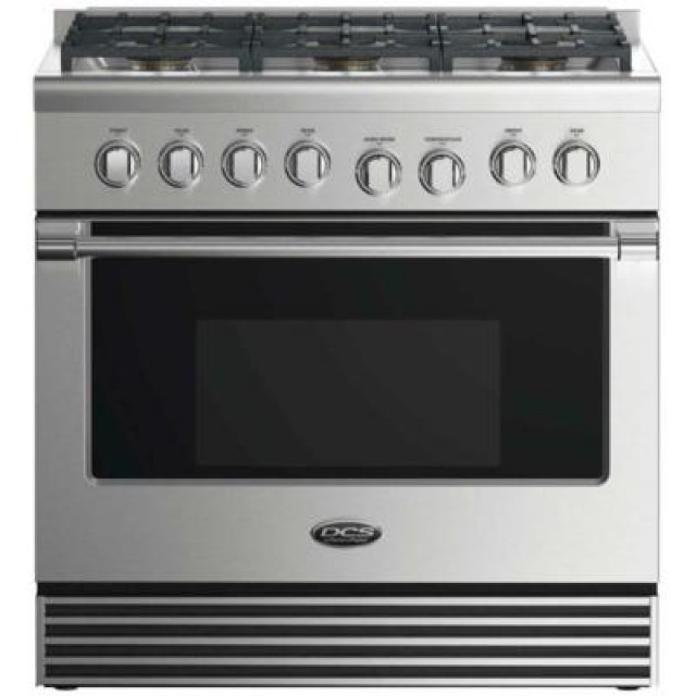 DCS RGV2366N 36 Inch Freestanding Gas Range with 6 Burners, Sealed Cooktop, 5.3 cu. ft. Primary Oven Capacity, Convection Oven in Stainless Steel