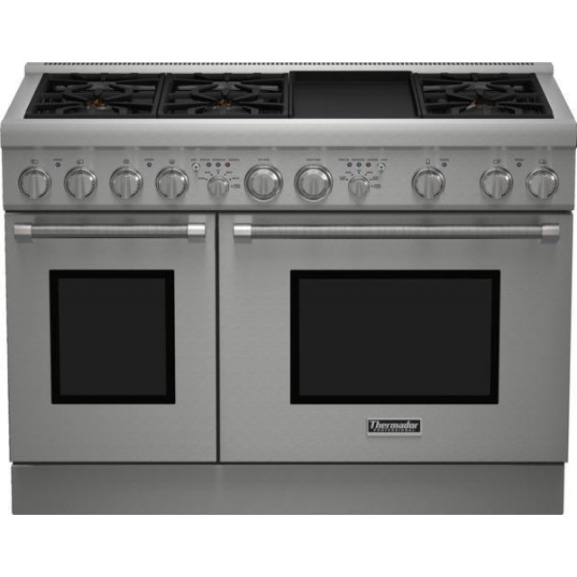 Thermador PRD486GDHU Pro Harmony Series 48 Inch Dual Fuel Freestanding Range in Stainless Steel