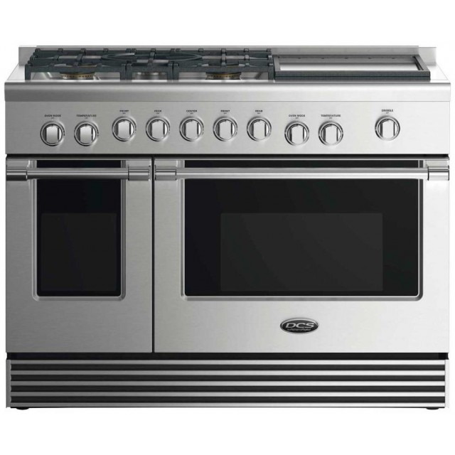DCS RGV2486GDN 48 In Gas Range with  5.3 cu. ft. Convection Oven,  2.4 cu. ft. Secondary Oven,  6 Sealed Burners and VS48 Professional Series 48 Inch Wall Mount Ducted Hood with 1200 CFM, Halogen Lights, in Stainless Steel
