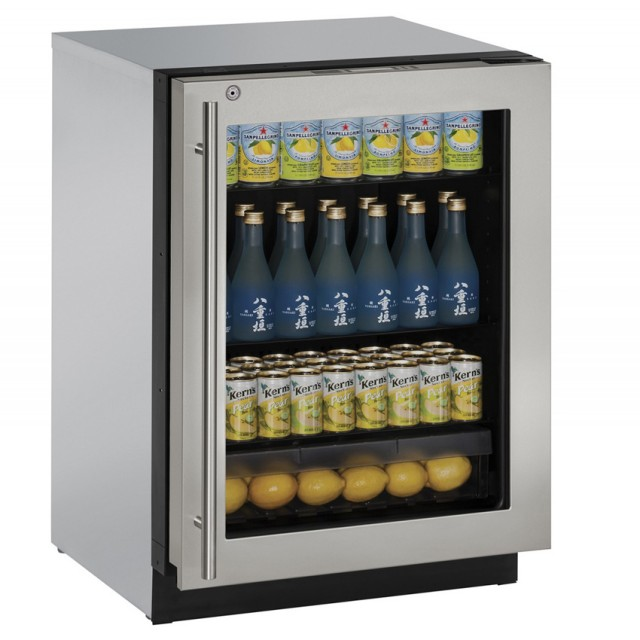 "U-Line U-3024RGLS-13B 3000 Series 24"" Undercounter Refrigerator with 4.9 Cu. Ft. Capacity (114 Bottle, 172 Can Capacity) in Stainless Steel"