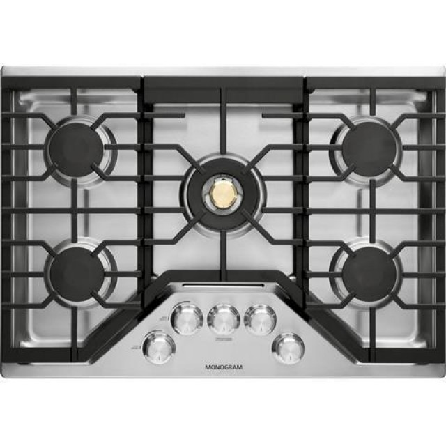 GE ZGU30RSLSS Monogram 30 Inch Natural Gas Cooktop with 5 Sealed Burners, in Stainless Steel