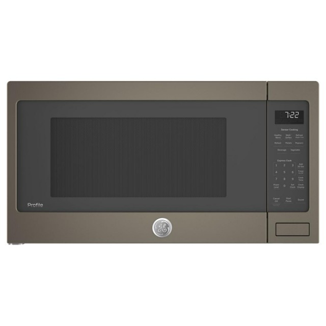 GE PES7227ELES Profile 2.2 cu. ft. Countertop Microwave in Slate, Fingerprint Resistant with Sensor Cooking