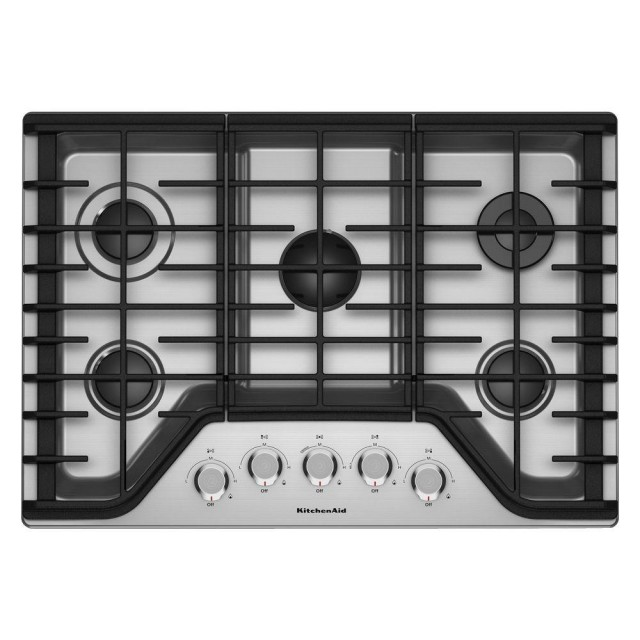 KitchenAid KCGS356ESS 36 in. Gas Cooktop in Stainless Steel with 5 Burners Including a Multi-Flame Dual Tier Burner and a Simmer Burner