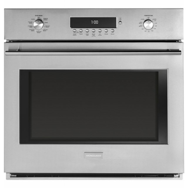 GE ZET1SHSS Monogram 30 Inch, 5.0 cu. ft., Self-Cleaning, Single Electric Wall Oven in Stainless Steel