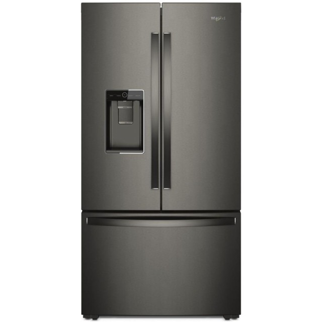 Whirlpool WRF954CIHV 36 in. Counter Depth French Door Refrigerator with 23.8 cu. ft. Total Capacity, 3 Glass Shelves, 6.3 cu. ft. Freezer Capacity, External Water Dispenser, Crisper Drawer, Energy Star Certified, Ice Maker, in Black Stainless