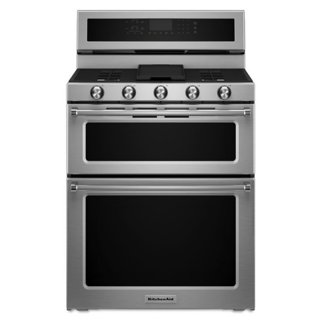 KitchenAid KFDD500ESS 30-in 5-Burner 4.2-cu ft / 2.5-cu ft Double Oven Convection Dual Fuel Range (Stainless Steel)