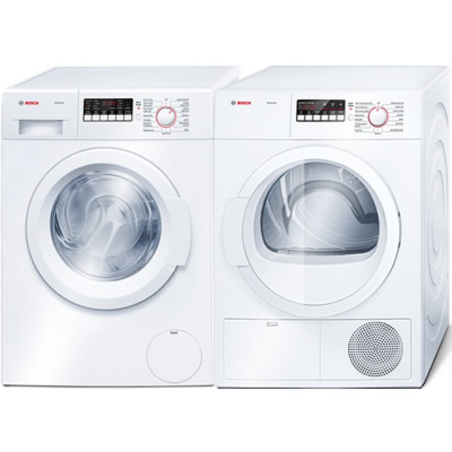 Bosch Ascenta Series WAP24200UC 24 Inch Front-Load Washer and Bosch 800 Series WTB86200UC 24 Inch 4.0 cu. ft. Electric Dryer in White