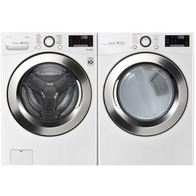 LG WM3700HWA 4.5 cu.ft. Ultra Large Capacity White Front Load Washer and DLEX3370W 7.4 cu. ft. Electric Dryer