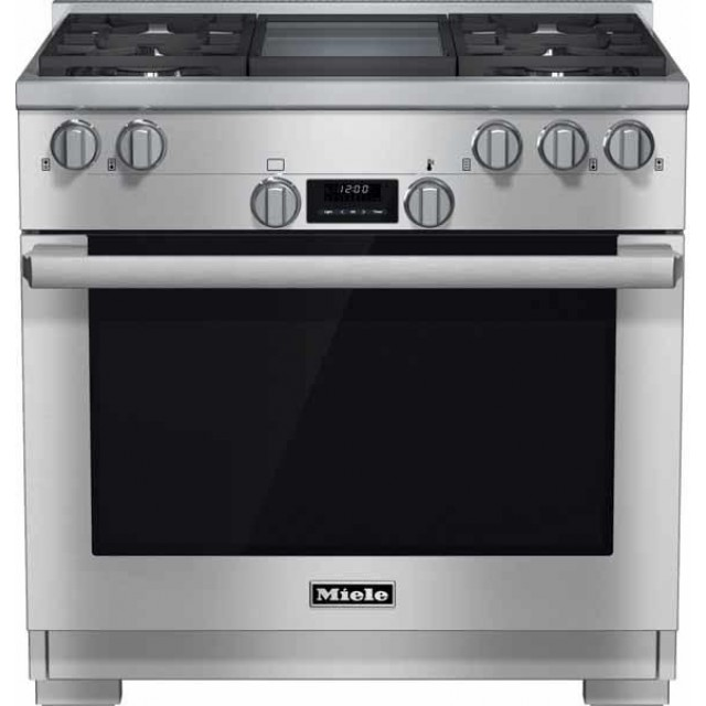 "Miele HR1136GD 36"" Pro-Style Gas Range with 5.8 cu. ft. Twin Convection Fan Oven, 4 Sealed M Pro Dual Stacked Burners, TrueSimmer Burners, Self-Cleaning, M Pro Infrared Griddle, and 5 Operating Modes in Stainless Steel"