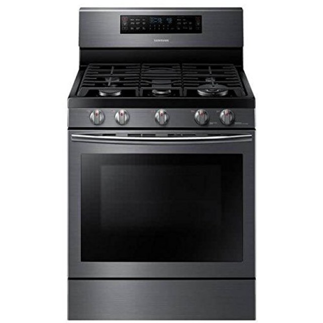 Samsung NX58J7750SG 30 in. 5.8 cu. ft. Flex Duo Double Oven Gas Range with Self-Cleaning Dual Convection Oven in Black Stainless