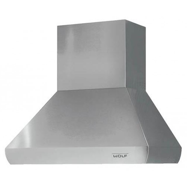 Wolf PWC482418 48 Inch Wall Mount Chimney Range Hood with Infinite-Speed Blower Control, Automatic Heat Sentry, Halogen Light
