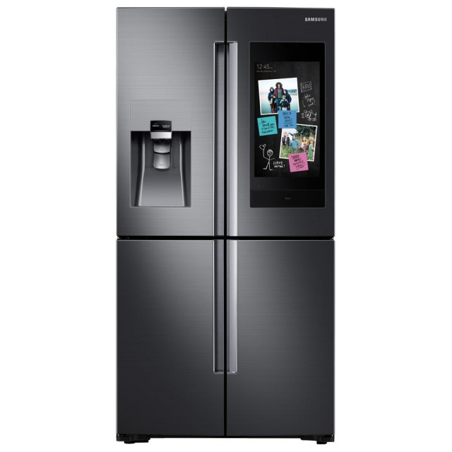 Samsung RF22N9781SG 22 cu. ft. Family Hub 4-Door FrenchDoor Smart Refrigerator in Fingerprint Resistant Black Stainless, Counter Depth