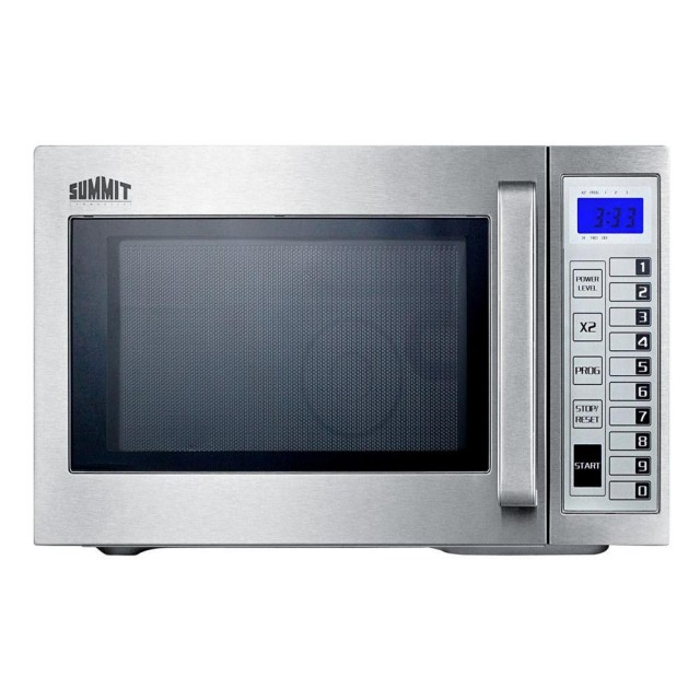 Summit SCM1000SS 0.9 cu. ft. Commercial Countertop Microwave with 1,000 Cooking Watts, Variable Power Levels, Digital Keypad and Stainless Steel Interior/Exterior
