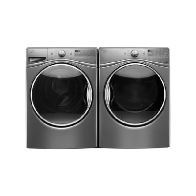 Whirlpool WFW92HEFC Chrome Shadow Front Load Washing Machine and WGD92HEFC 7.4 cu. ft. Gas Dryer