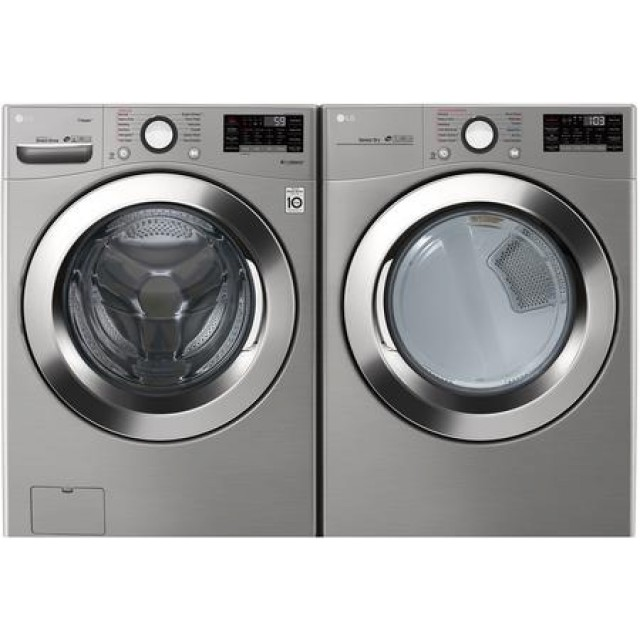 LG WM3700HVA 4.5 cu.ft. Ultra Large Capacity Front Load Washer with Steam and DLEX3370V 7.4 cu. ft. Electric Dryer with Steam in Graphite Steel
