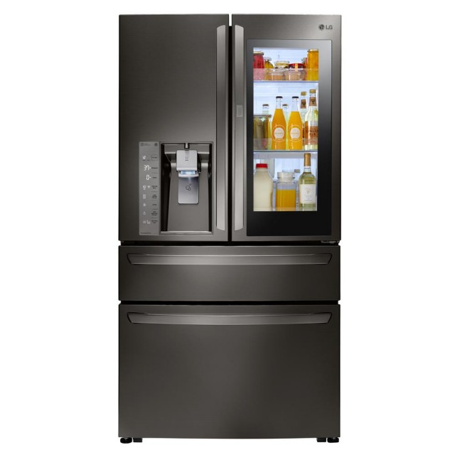 LG LMXC23796D 23 cu. ft. 4-Door French Door Smart Refrigerator with InstaView Door-in-Door in Black Stainless Steel, Counter Depth