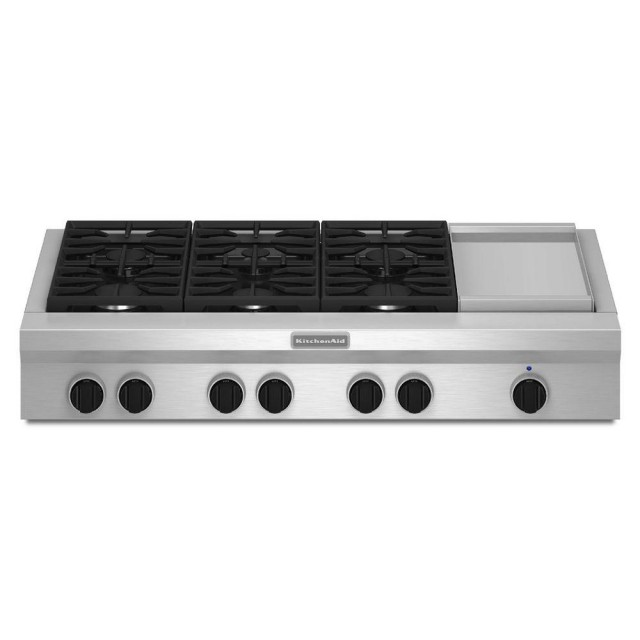 KitchenAid KGCU483VSS 48 in. Gas Cooktop in Stainless Steel