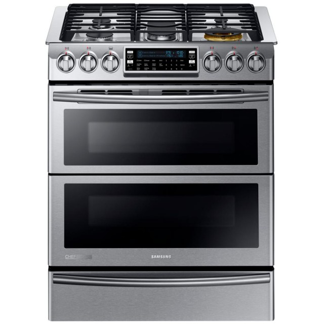 Samsung NY58J9850WS 30 in. 5.8 cu. ft. Slide-In Dual Door Double Oven, Dual Fuel Range with Self-Cleaning Convection Oven in Stainless Steel