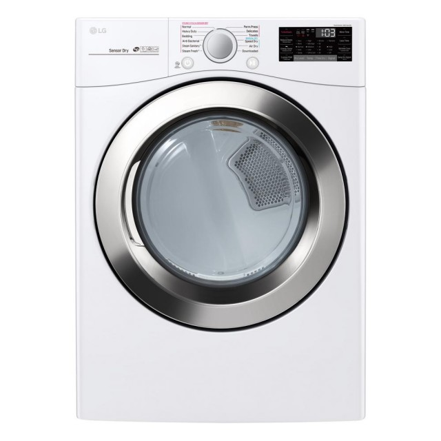 LG DLEX3700W 7.4 cu.ft. Ultra Large Capacity Electric Dryer with Sensor Dry, Turbo Steam and Wi-Fi Connectivity in White