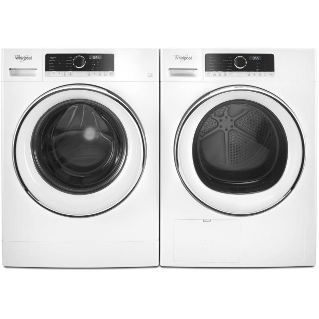 Whirlpool WFW5090GW 2.3 cu. ft. Compact Front Load Washer and WHD5090GW True Ventless Heat Pump 4.3-cu ft Stackable Ventless Electric Dryer in White