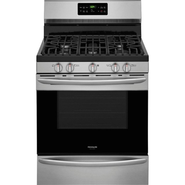 Frigidaire FGGF3047TF Gallery Series 30 Inch Freestanding Natural Gas Range with 5 Sealed Burners, Griddle, 5 cu. ft. Total Oven Capacity, Convection Oven in Stainless Steel