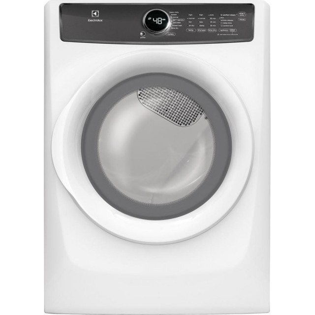 Electrolux EFME427UIW 27 Inch Electric Dryer with 8 cu. ft. Capacity, 7 Dry Cycles, 4 Temperature Settings, Steam Cycle, Energy Star Certified in White