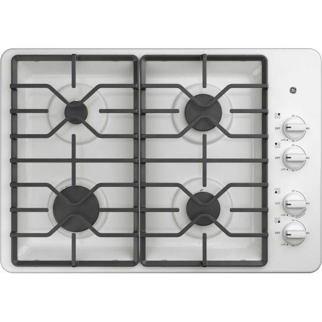 GE JGP3030DLWW 30 Inch Natural Gas Cooktop with 4 Sealed Burners, ADA Compliant, Continuous Grates in White