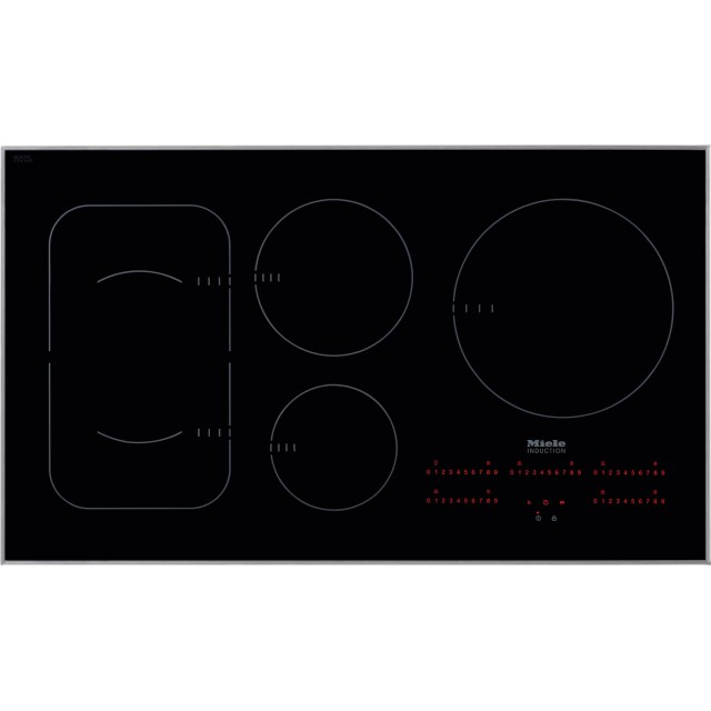 Miele KM6370 36 Inch Electric Induction Cooktop with 5 Elements, Pan Presence Sensor, Keep Warm Zone, Hot Surface Indicator, Induction Technology in Black with Stainless Steel Trim