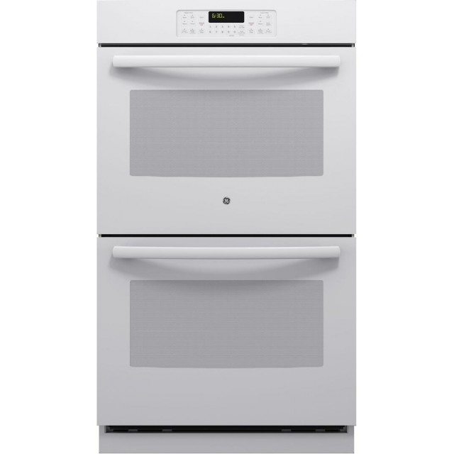 GE JT3500DFWW 30 Inch 10 cu. ft. Total Capacity Electric Double Wall Oven with 4 Oven Racks, Delay Bake, Steam Clean, in White